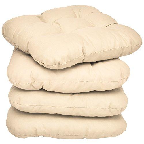 Beautissu Set de 4 cómodos y Suaves Cojines Lisa - 37x37x8 cm para sillas - Forro Brillante - sin Cordones - Crema