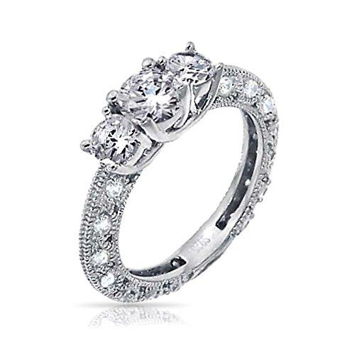 Bling Jewelry Vintage-Stil Filigrane 3Ct Runde Solitär 3Stein Versprechen Zirkonia AAA Cz Verlobungsring 925 Sterling Silber - Cz-verlobungsringe Stil Vintage