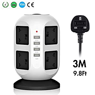 3M/9FT Tower Extension Lead [4 USB Ports 8 Way Outlets] with Surge Protection, Universal Vertical Tower Power Extension Cord with Safety Fuse and Overload Protection (Black)