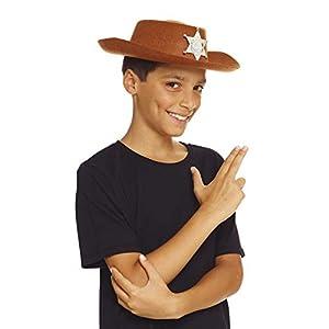 AEC-chapeau de Sheriff disfraz, unisex infantil, aq04600, marrón, talla única