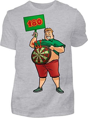 Kreisligahelden T-Shirt Herren 180 Triple 20 - Kurzarm Shirt Baumwolle mit Motiv Aufdruck - Hobby Freizeit Fun Dart Darts 180 (S, Grau)