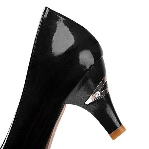 AgooLar Damen Ziehen Auf Mittler Absatz Pu Leder Gemischte Farbe Rund Zehe Pumps Schuhe Schwarz