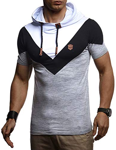 LEIF NELSON Herren Sommer T-Shirt mit Kapuze Slim Fit Basic Baumwolle-Anteil | Basic Männer Kapuzenshirt Vintage | Jungen Kurzarmshirt Hoodie-Sweatshirt Kurzarm lang | LN4845 Grau Medium