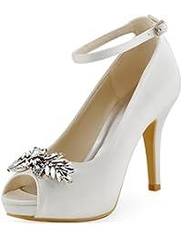 ElegantPark HP1544I Mujer Fiesta Plataforma Peep Toe Rhinestone Zapatos Clips Nupcial Zapatos De Boda