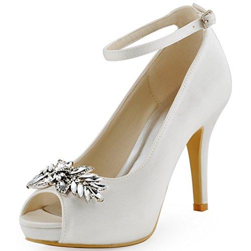 ElegantPark HP1543I Escarpins Femme Satin Bout ouvert Bride cheville Pompes Chaussures Plateforme AA01 Blanc