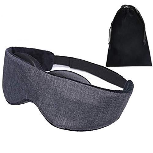 3D-Schlafmaske Augenmaske Atmungsaktiver Memory Foam Contours Modulare Schlafaugenmaske für Männer und Frauen, voll einstellbar für Reisen, Nickerchen, Schwarz