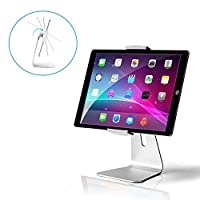 """AboveTEK Elegant Aluminum iPad Pro Stand - Swivel iPad Air/Mini Kiosk POS Stand - Two Mount Holders 7""""~13"""" Interactive iOS/Android Tablet Stand for Retail Store Showcase/Office Desk/Kitchen Countertop"""