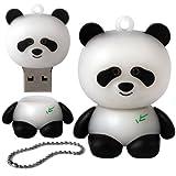 iGloo - Memoria USB 2.0 de 8 GB, diseño de oso panda, color blanco y negro