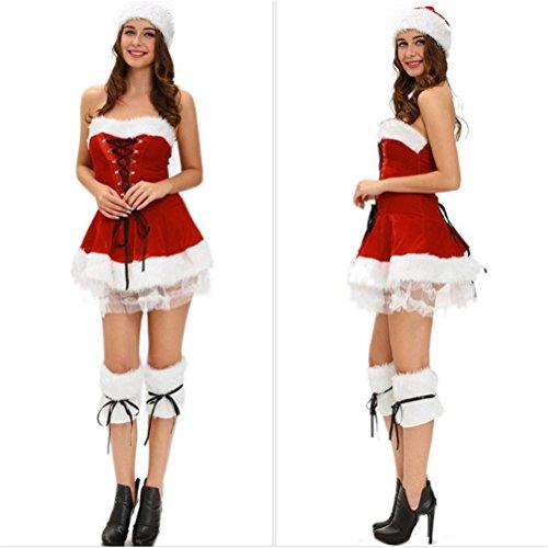QWER Sexy Fräulein Red Womens Fancy Dress Outfit Frau Weihnachts Kostüm mit Beinabdeckungen