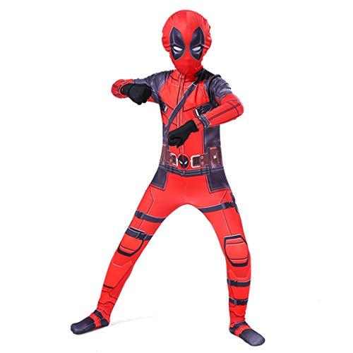 Yujingc Kinder Deadpool Cosplay Kostüm Sport Overall Schule Gala Bühne Verbunden Strumpfhosen Halloween Erwachsene Cosplay Kostüm Erwachsene Kostüm Set,Red,XS