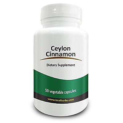 Real Herbs Organic Ceylon Cinnamon 750mg – Also known as True Cinnamon - Highest Dosage Per Cap on Amazon – Promotes Cardiovascular Health – 50 Vegetarian Capsules
