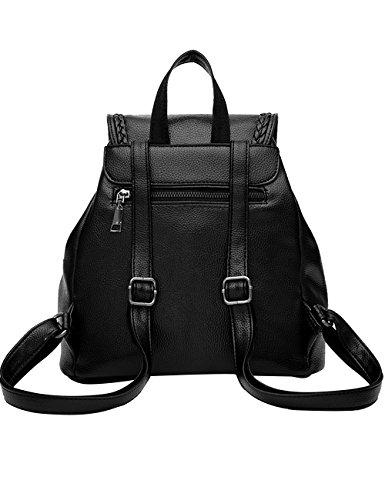 Menschwear PU Zaino Satchel Daypack sacchetto di scuola Blu Nero