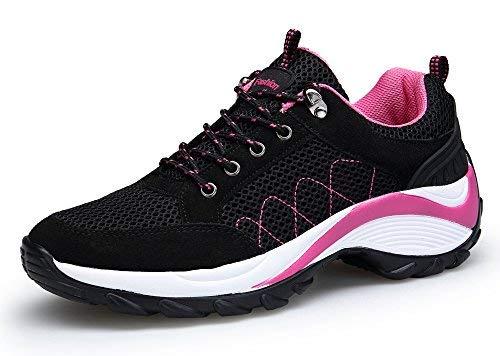 DAFENP Damen Laufschuhe Sportschuhe Platform Sneakers Trendfarben Runners Schnür Fitness,XZ806-W-black-EU41