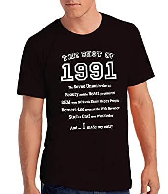 """Mens """"The Best of 1991"""" 25th Birthday T Shirt Gift, 100% Soft Cotton: B, S"""