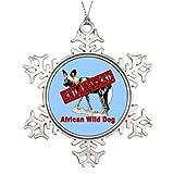 Monsety Dekofigur Schneeflocke, Afrikanischer Wilder Hund gefährdet Tierprodukte, Personalisieren gefährdete Tierarten, Weihnachtsdekoration, Andenken