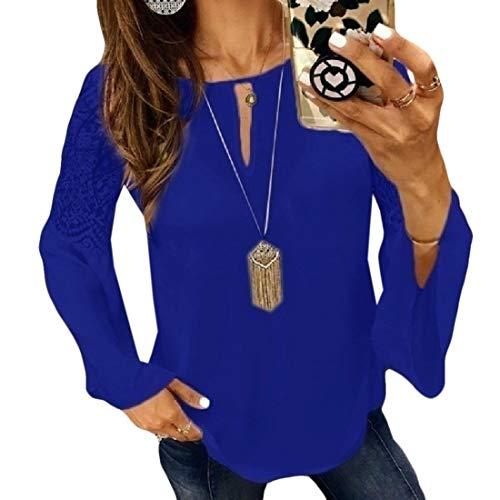 CuteRose Women's Chiffon Patched Lace Regular Fit Trumpet Sleeve Blouse Shirt Blue XS -