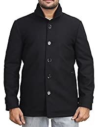 Bareskin men's black classic woolen coat