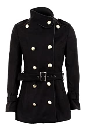 Fantasia Ladies Double Breasted Long Sleeve Belted Military Jacket Women's Coat 8-14 [Black,8]