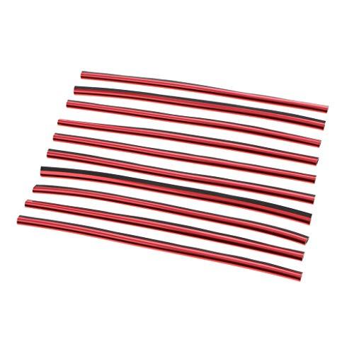 10x Kühlergrill-Zierleiste Klimaanlage Outlet Vent Trim Grillleiste Deko Streifen Für Alle Autos - rot -