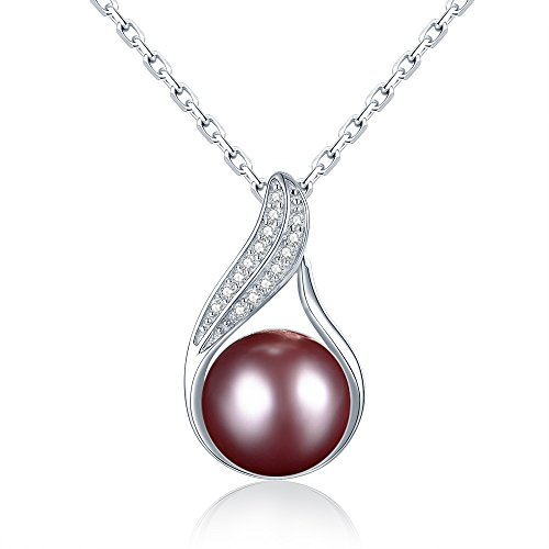 Anhänger aus massivem Sterling Silber Halskette perle damen 925 Schmuck mit italy-made 45 cm Kette weiße,schwarz, lila,goldene pearl opational