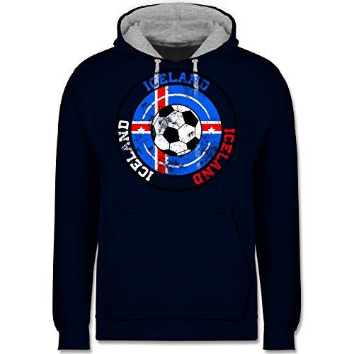 Fußball-WM 2018 - Russland - Iceland Kreis & Fußball Vintage - Kontrast Hoodie Dunkelblau/Grau meliert
