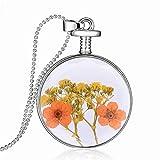 SDGDFXCHN Collar colgante hecho a mano con flores naturales secas, collar de vidrio y botella redonda