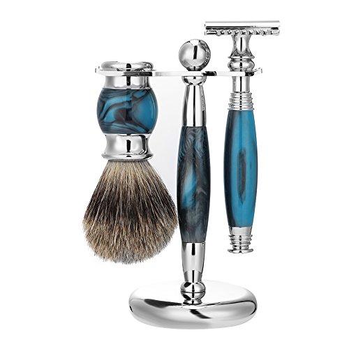 Manuelle Rasiersets, manueller Rasierer + Rasierpinsel + Rasierpinsel und unterstützung, Bartpflege für die persönliche Rasur, traditionelles Gesichtshaarschneider Pflegewerkzeug(Blau) -