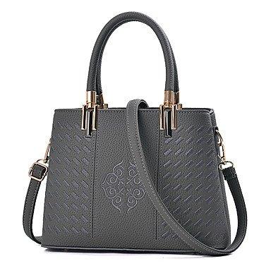 Le donne della moda ricamo PU in pelle Tracolla Messenger Crossbody borse/borsa borse,grigio Gray