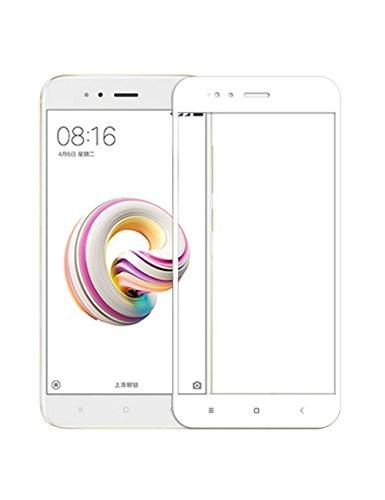 VEVICE Xiaomi Mi 5X - Protector de pantalla para Xiaomi Mi A1 (borde curvado, vidrio templado, sin burbujas y antiarañazos), color blanco