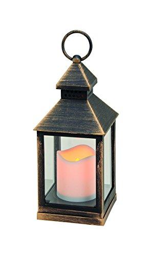 Laterne mit LED Kerze Windlicht aus Kunststoff in weiß oder schwarz 24 cm (schwarz)