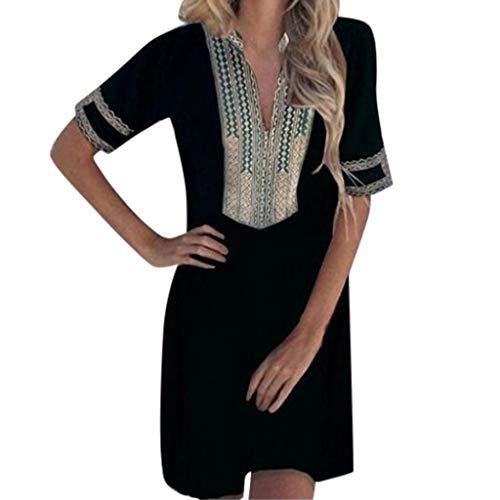 Yvelands Damen T-Shirt Kleid mit V-Ausschnitt, halben Ärmeln, Folk-Custom-Print, Patchwork, ()