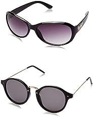 Criba Gradient Butterfly Unisex Sunglasses - (ldy brn+oval black_CRLK|40|White Color Lens)