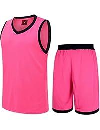 Astage Hombre Joven Camiseta Pantalones Cortos Baloncesto Fútbol Traje Deporte Rosa Clara 3XL