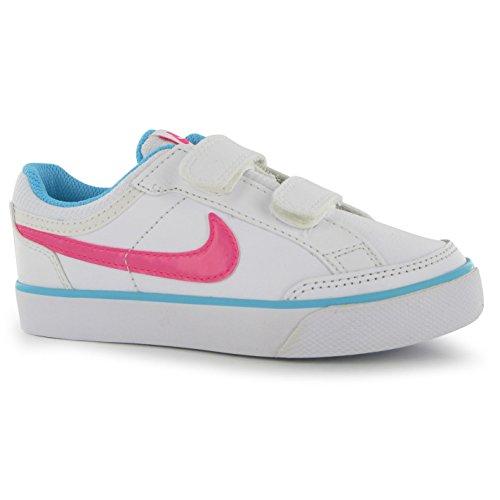 Nike Mädchen Capri 3 Ltr (Psv) Tennisschuhe, Weiß Weiß / Rosa / Blau (White / Pink Pow-Clearwater)
