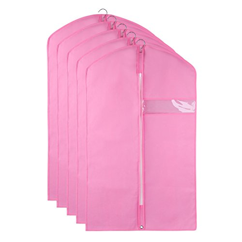 sourcingmap® Anzug Kleid Mantel Kleidung Lagerung Reisen Tasche Bügel beschützer Rosa Set (Kleidersäcke Tanz Kostüme)
