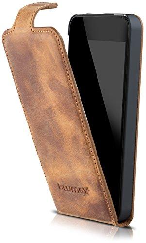 Blumax Apple iPhone SE 5 / 5S Flip-Case Handyhülle aus Leder im Vintage-Stil mit Magnetverschluss (4 Zoll - antik hellbraun) (Iphone 5s Braun Leder Flip Case)