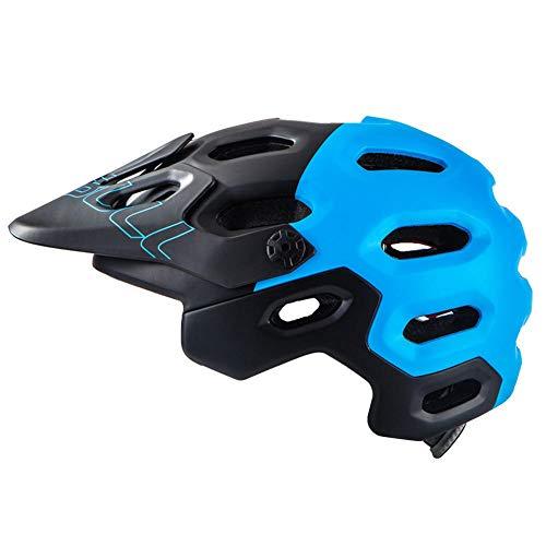 uomo visiera enduro bell sci bimbo ciclismo arrampicata motorino skateboard monopattino man downhill ferrata Casco da mountain bike fuoristrada AM/XC/OFF-ROAD-Black blue_L (58-62CM)