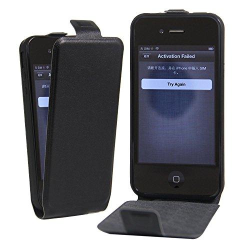 Owbb® PU Ledertasche oberen und unteren offenen im Bookstyle für iphone 4S Smartphone Case Cover Wallet Standfunktion mit Kartenfächer Bargeld Aussparrung-Pink Schwarz