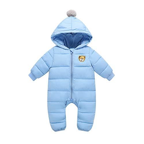 Wahyou® Baby Schneeanzüge Winter Overall Strampler mit Kapuze Mädchen Jungen Winterjacke Jumpsuit Outfits Bär Strampler Spielanzu 0-18 Monate(Hellblau,73)