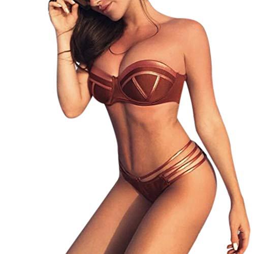 QingJiu Damen Feshion Frauen Bikini Set Hot Stampin Sport Bademode Push Up Gepolsterter Badeanzug