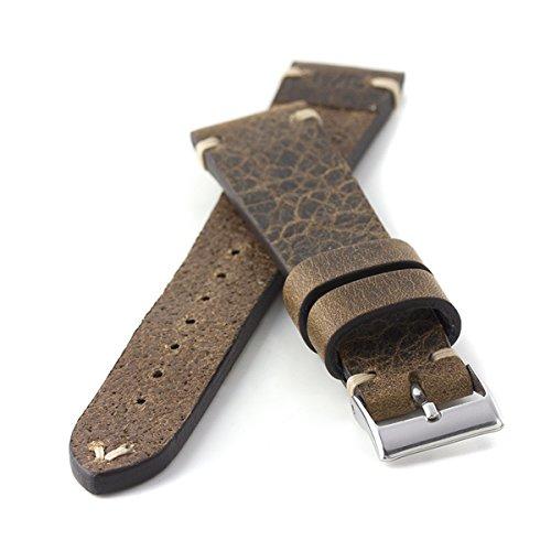 Kaufmann Herren Leder Uhrenarmband Saddle Vintage Hellbraun Handvernäht, Band- und Schliessenbreite:19/16 mm, Schließenfarbe:Edelstahl
