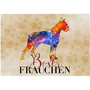 Cadouri Frühstücksbrettchen BOXER FRAUCHEN Glasschneidebrett Schneidebrettchen – 28,5 x 20 x 0,4 cm
