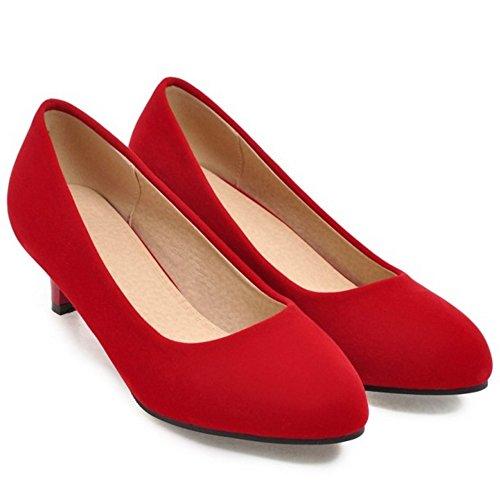 Coolcept Femmes Bout Ferme Escarpins 4CM Red