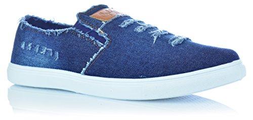 Homens Deslizamento-ons Sapatos Chinelo Meias Mocassins Óptica Jeans Usados olhar Gr. 41-46 Azul