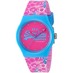 Superdry Women's 'Urban Floral' Quartz Plastic and Silicone Dress Watch, Color:Pink (Model: SYL169UP)