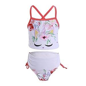 OBEEII Ragazze Costume da Bagno Unicorno Due Pezzi Bikini Tankini Stampa di Fiori Costumi da Mare Estate Spiaggia Beachwear Swimwear per Bambina 2-7 Anni 6 spesavip
