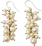 StunningBoutique Pure 925 Sterling Silver Freshwater White Pearl dangle Earrings