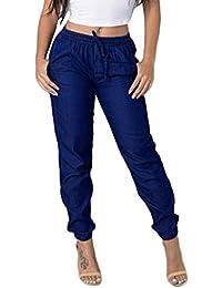 a2b63435fba6 SANFASHION Pantalons Jeans Loose ÉLastique Pantalons Femmes Taille Haute  Chic Pantalon Ample Bleu Denim Pants
