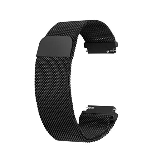 LYOS [Milanaise Milanese 22mm Uhrenarmband Smartwatch [Edelstahl Armband] mit [Magnet Verschluss] in Schwarz (22mm Aluminium-uhrenarmband)
