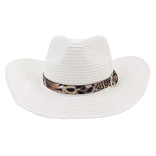 Western Cowboy National Style Strohmütze Strandmütze Leopard Outdoor Seaside Sun Visor, Ibuprofen, Weiß, 56-58 cm Leopard-visor